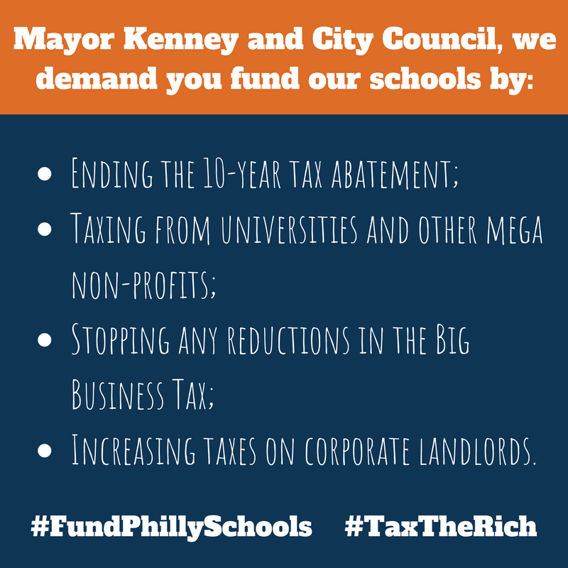 Mayor Kenney and City Council, we demand_